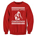 FreshRags Harambe Loved Christmas Ugly Sweater Funny Men's Sweatshirt LG Red
