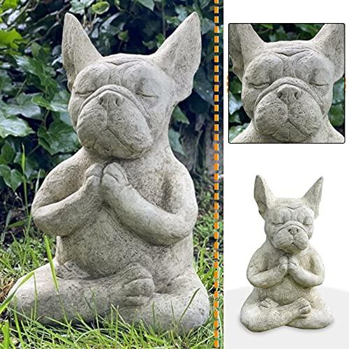 Garden Decor, Meditating Sitting French Bulldog Garden Statues, Resin Animal Dog Decor Sculpture Ornament for Patio Yard Art Lawn Outdoor Statues