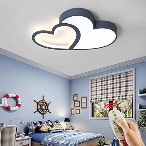 LED luz de techo con forma de corazón Dimmable Moderno amor corazón anillo diseño acrílico metal araña para comedor dormitorio sala de estar niña niño luz de techo [Clase de energía A ++],Azul