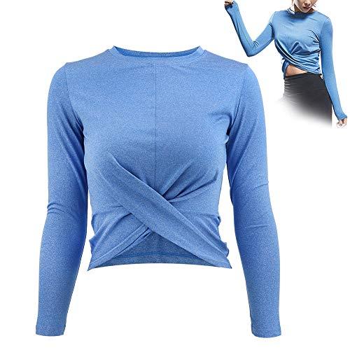 Ergonomisches Design Frauen Langarm Yoga Tops Anzug Fitnessstudio Fitness Kleidung Langarm Shirt(L)
