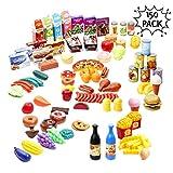 Juguete de Cocina 150 Piezas Comida Accesorias | Accesorios Juegos de Cocinitas | Plastic Alimentos Frutas Verduras de Supermercado Set | Regalo Navidad