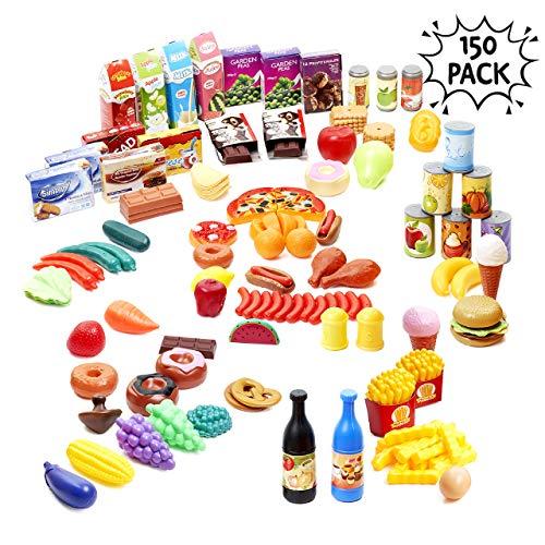 150 Stück Küche Spielzeug Lebenmittel | Bildungsspielzeug Fördert fantasievollen kreativen Spaß & Stunden der | Spielzeug Essen | Pädagogisches Lernen Spielzeug | Küchen Spielzeug Set