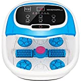 Best Choice Products Motorized Foot Spa Bath Massager, Adjustable Waterfall Shower & Fast Heating, Automatic Shiatsu Massage, Pumice Stone, Rollers, Pedicure to Relieve Feet Muscle Pain - Blue