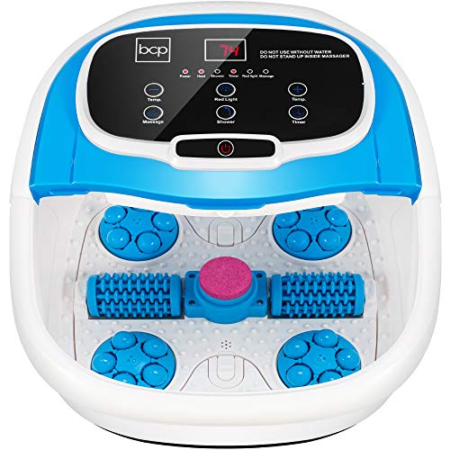 Best Choice Products Motorized Foot Spa Bath Massager, Adjustable Waterfall Shower & Fast Heating, Automatic Shiatsu Pedicure Massage, Pumice Stone, Rollers to Relieve Feet Muscle Pain - Blue