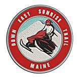 Down East Sunrise Trail, Maine Snowmobile Embroidered Premium Patch DIY Iron-on or Sew-on Decorative Badge Emblem Vacation Souvenir Travel Gear Clothes Appliques