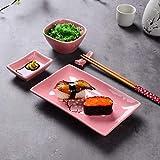 Panbado Porzellan Japanisch Sushi 10-teilig Set, Rechteckig Sushi Teller mit Reisschalen, Dipschälchen, Bambus Essstäbchen und Essstäbchen Ablage für 2 Personen, Sakura Muster, Rosa - 7