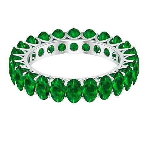 Anillo de boda clásico, 6 quilates 5 x 3 mm forma ovalada esmeralda difusa anillo de eternidad, anillo de novia mínimo, anillo de piedra natal de mayo, 18K Oro blanco, Size:EU 70