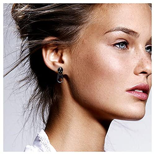 CHXISHOP Zipper 925 Pendientes de Plata Moda Masculina y Femenino Personalidad Joyería Pendientes de Moda Sola joyería de Plata Black