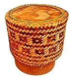 Thai Bambuskorb Reiskorb Reisdämpfer Zum stilechten Garen und Servieren von Reis aus Nordthailand (Isaan) (Breite 17cm)