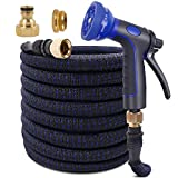 KAREEME Wasserschlauch Gartenschlauch, Einziehbarer Bewässerungsschlauch, Flexibler Gartenschlauch mit 3-Fach Latexkern, 10 Funktionsspray(15M)