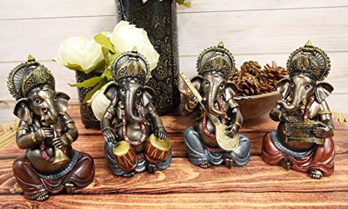 Ebros Celebration of Life and Arts Lord Ganesha Playing Musical Instruments Statue 6.75' Tall Hindu Elephant God Deity Remover of Obstacles Figurine Vastu Hinduism Collectible Decor (Set of 4)