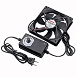 Wathai 120mm x 25mm 110V 220V AC Powered Fan with Speed Controller 3V to 12V, for Receiver Xbox DVR Playstation Component Cooling
