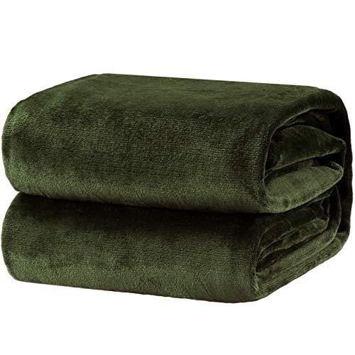 Bedsure Fleece Blanket King Size Oive Green Lightweight Super Soft Cozy Luxury Bed Blanket Microfiber