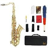 ammoon LADE Ottone Bb Tenor Saxophone Sax Disegno Scolpito Pearl White Shell Pulsanti Stru...