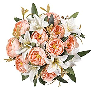 Kisflower 2 Bunches Artificial Peony Flowers Silk Peony Bouquet with Lily Artificial Lily Bouquet for Home Table Wedding Office Decor (Light Pink)