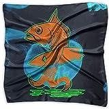 Fisch mit Surfbrett Salty The Fish Fashion Damen Print Square Halstuch Schal Head Wrap Neck Satin Schal