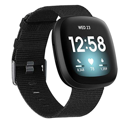 last chance order the fitbit versa 3 in time for christmas Wearlizer Fabric Bands Compatible with Fitbit Versa 3/Fitbit Sense for Women Men,Soft Breathable Canvas Watch Strap Adjustable Replacement Wristband for Fitbit Versa 3 Smart Watch-Black