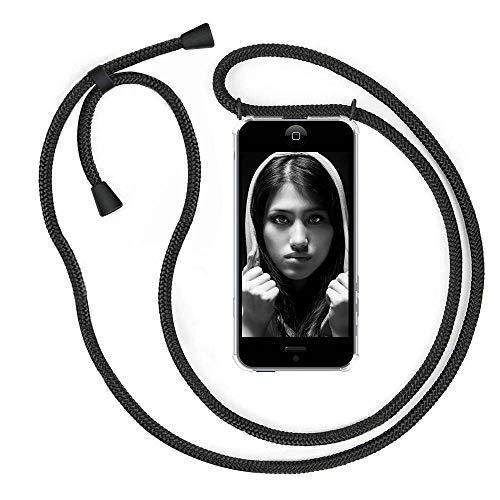 """YuhooTech Handykette Hülle für iPhone 5 / 5S / SE(2016)- 4,0"""" Display, Smartphone Necklace Hülle mit Band - Handyhülle mit Kordel Umhängenband - Schnur mit Case zum umhängen in Mattschwarz"""