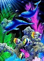 イルカ ダイヤモンドペインティング - 5d ダイヤモンドペインティングキット フルカバー ラウンドラインストーン DIYツールキット アートサプライ - 友人や家族への楽しいギフト 屋内装飾 マルチカラー xq-142