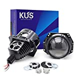 YUFANYA 3.0 Inch Bi LED Projector lens Hi/Lo Beam VS Bixenon Projector lens LED Conversion Kit-90W 9600LM 7070 Chip-Clear Cut off Line DOT approved-Universal Fit For Car Motorcycle Headlight Retrofit