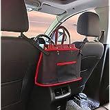 車用収納ポケット 収納バッグ 大容量 小物入れ 省スペース 後部座席用 ネットポケット 簡単取付 多機能 車内収納袋 (赤)