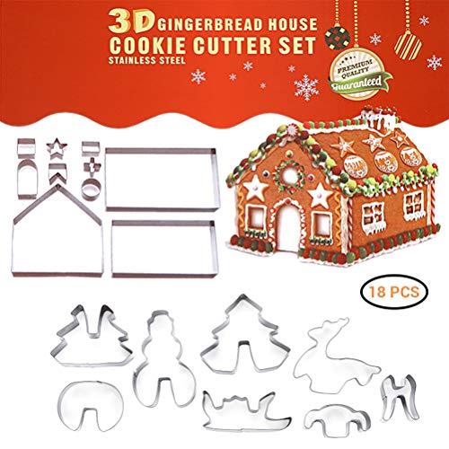 TAIPPAN Lot de 18 emporte-pièces de Noël en acier inoxydable 3D pour gâteaux et biscuits