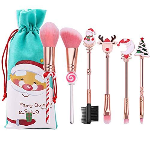INTVN Juego de pinceles de maquillaje, 6 unidades, para Navidad, sombra de...