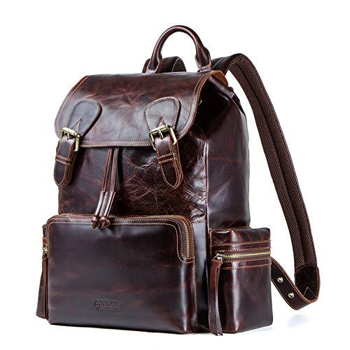 Xuanbao-HB Casual Daypack Sac à Dos en Cuir pour Homme Multi-Fonction Vintage Duffle Bag Casual Daypack