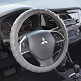 BDK Ergonomic Non-Slip Grip Genuine Leather Car Steering Wheel Cover (Gray/Large Size 15.5...