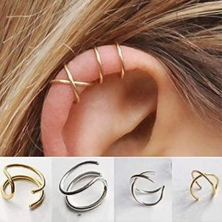 ruilinyang Minimalist 4 PCS S925 Sterling Silver Criss Cross Ear Cuff No Pierce Ear Cuff Sets Double Simple Lines Ear Cuff Fake Cartilage Earring Helix Piercing