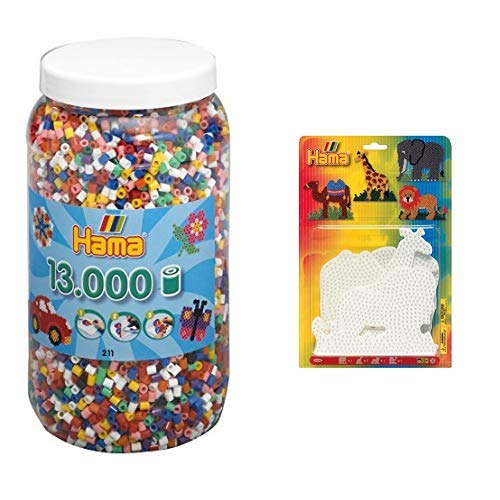 Hama 211-00 - Bügelperlen Dose mit ca. 13.000 Perlen, 10 Farben gemischt & 4554 - Blisterpackung große Stiftplatten, Elefant, Giraffe, Löwe, Kamel, 4 Stück