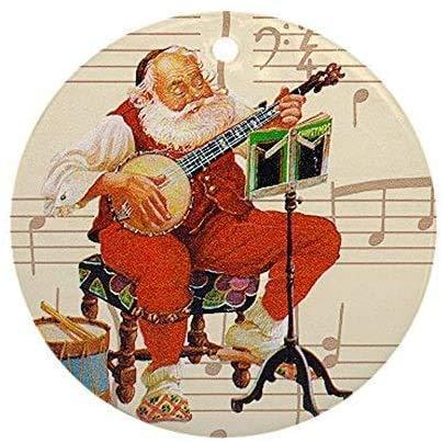 happygoluck1y Banjo Santa Christmas Ornaments Personalized,Keepsake Ornaments for Christmas Tree,2020 Christmas Memorial Ornament,for New Home,Kids,Friends