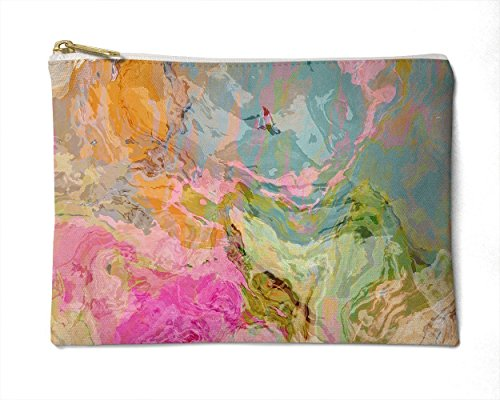 Makeup Bag or Pencil Case with Abstract Art in Pastel Pink, Green, Blue and Tan, Dreamgirl