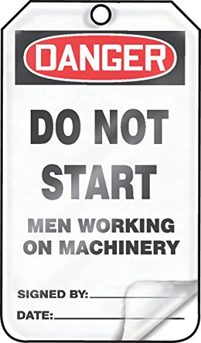 Accuform MDT115LCM PF-Cardstock Safety Tag, Legend'Danger DO NOT Start Men Working ON Machinery', 5.75' Length x 3.25' Width x 0.010' Thickness, Red/Black on White (Pack of 5)