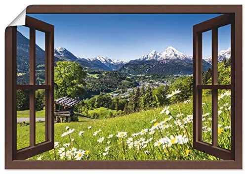Artland Poster Kunstdruck Wandposter Bild ohne Rahmen 100x70 cm Fensterblick Fenster Alpen Landschaft Berge Wald Gebirge Wiese Natur T5TP