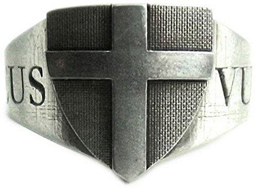Anello con simbolo del crociato tedesco, con motto 'Deus vult'