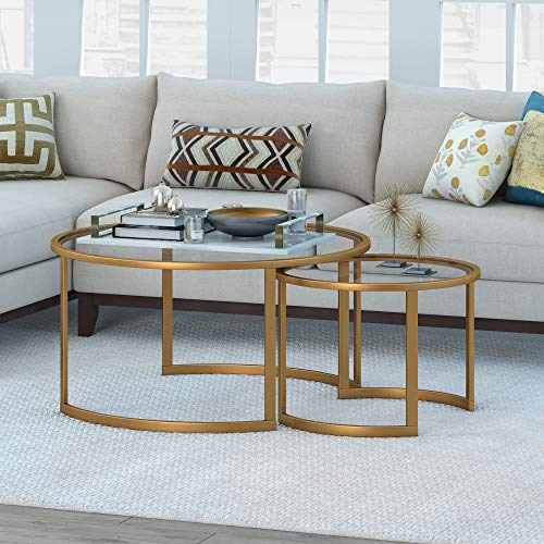 Nested Round Glass Coffee Table, Brass Finish