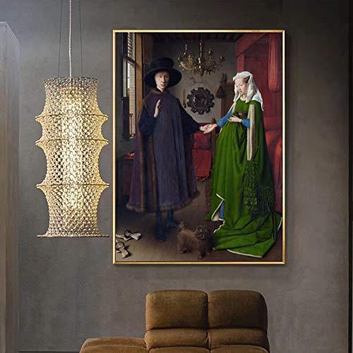GEGEBIANHAOKAN Cuadro De Arte Pintura Famosa Van Eyck Arnolfini Retrato Lienzo Pintura Cartel ImpresióN Pared para La Pared De La HabitacióN DecoracióN del Hogar-60x80cm Sin Marco