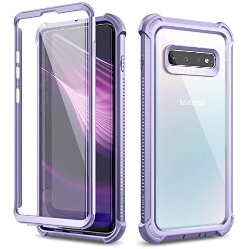 Dexnor Coque pour Samsung Galaxy S10, en Silicone Antichoc boîtier Housse Étui de Protection intégrale à 360 Panneau arrière Transparent Anti-Rayures Protecteur d'écran intégré - Violet