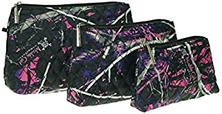 Muddy Girl Purple Pink Quilted Cosmetic Bag Exclusive 3 Piece Set