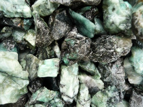 Fantasia Materials: 1 lb Unsearched Emerald Mine Run Rough Stones from Brazil