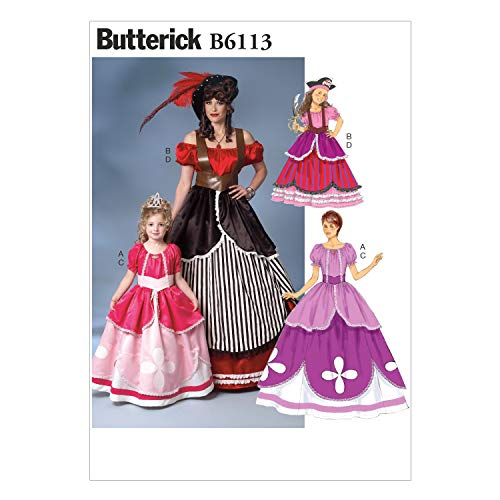 Butterick B6113 Women and Girl's Pirate and Princess Dress Costume Sewing Patterns, Children's Sizes 3-8 and Women's Sizes S-XL