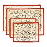 AmazonCommercial Silicone Macaron Baking Mats - Set of 4 with (2) 11.5 x 8.5 IN and (2) 11.5 x 16.5 IN