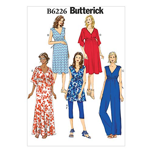 Butterick Patterns 6226 Misses Maternity Tunic, Dress, Jumpsuit, Belt and Leggings, Sizes 6-8-10-12-14
