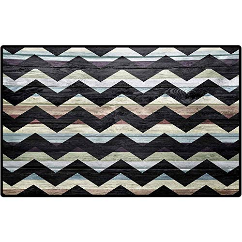 RenteriaDecor Geometric Rug Shoes Mat Retro Art Print Vintage Wooden Seem Zigzags Black Colored Chevron Grunge Backdrop Low-Profile Rug Mats for Entry, Patio, High Traffic Areas 72' x 48' Multicolor