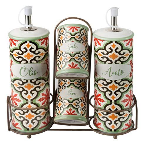Baroni Home Menage Olio Aceto Sale Pepe in Ceramica con Stand in Metallo Linea Cementine21X7.5X22cm