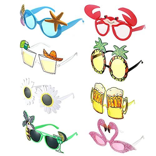 MOPOIN Occhiali Divertenti, 8 Paia Occhiali da Festa Hawaiani Tropicali Occhiali da Sole Party Divertenti Creativi Occhiali per Feste a Tema Spiaggia Bambini Adulti