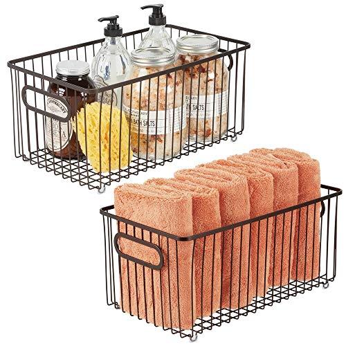 mDesign Juego de 2 cestas de almacenaje en metal con asas integradas – Caja organizadora extragrande y de diseño atractivo – Ideal como organizador de baño para cosméticos – color bronce