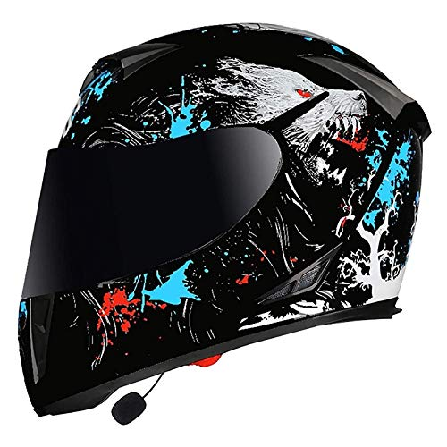 RUYICZB Cascos Adultos Casco Bluetooth Motocross Flip Up Doble Visera Modular Casco de Motocicleta MTB Casco Antiniebla ECE/Dot Casco Integral para Hombres Mujeres Four Seasons (57-64cm),C,XXL