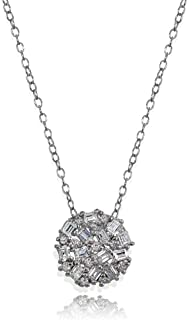 Sterling Silver Baguette and Round-Cut Cubic Zirconia Cluster Round Circle Pendant Necklace